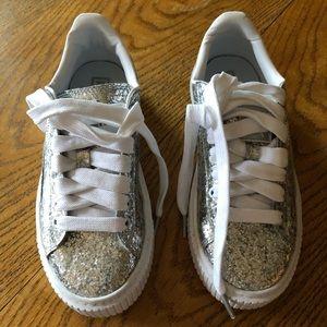 PUMA Basket Silver Glitter Platform Sneaker.